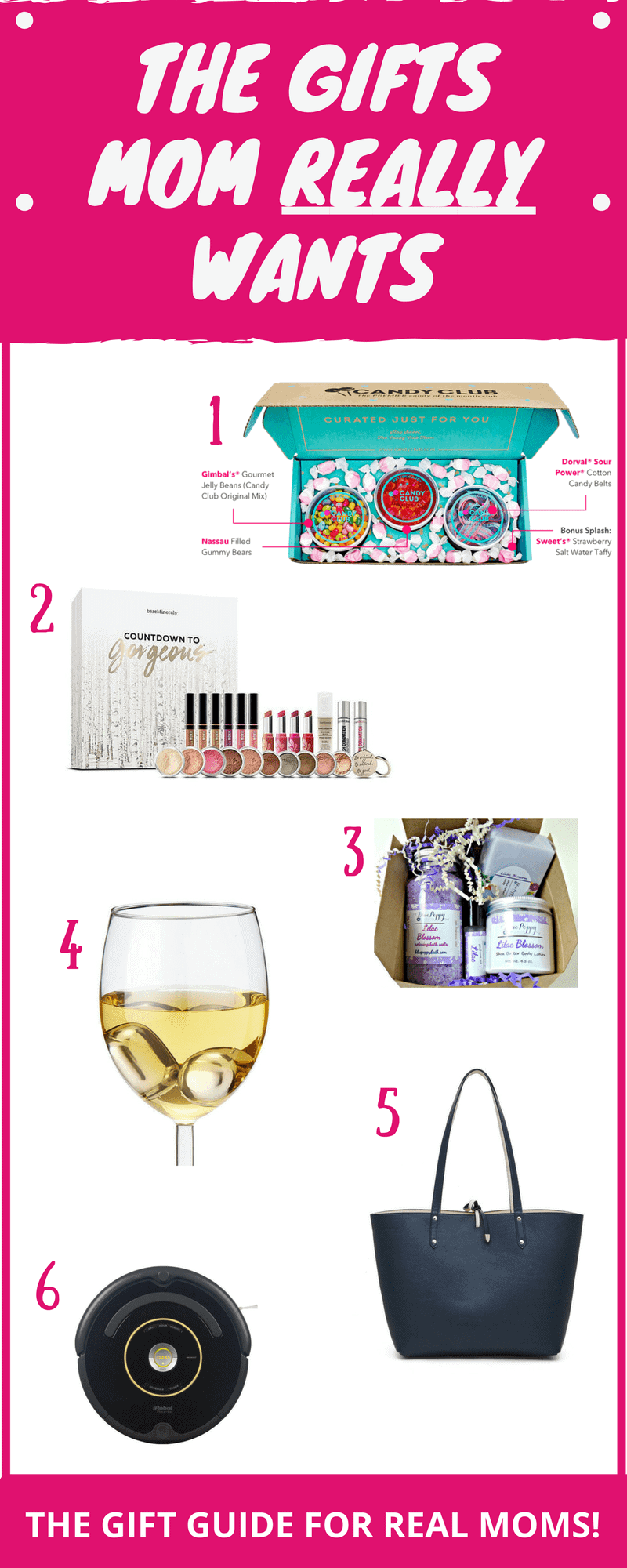 Gifts for Moms! Here's a gift guide for REAL moms! Get mom want she really wants!