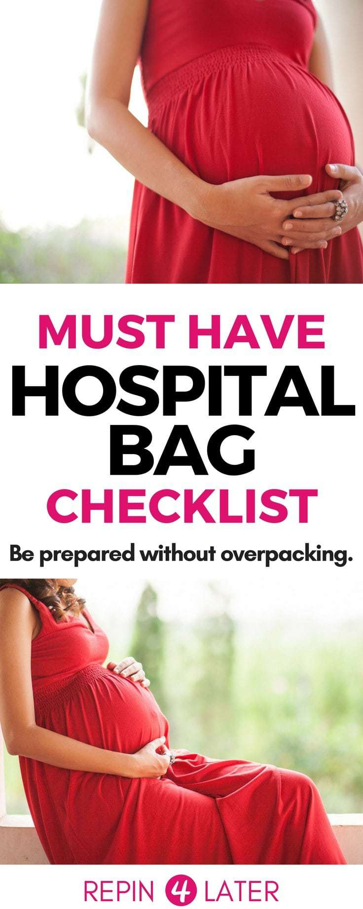 Your must-have hospital bag checklist! Plus a free downloadable version so you can save it for later! Easily pack this hospital bag for mom to be + hospital bag for baby! Don't overpack!! Seriously…. Here's what to pack in hospital bag with a minimalist hospital bag spin! Hospital bag for delivery.
