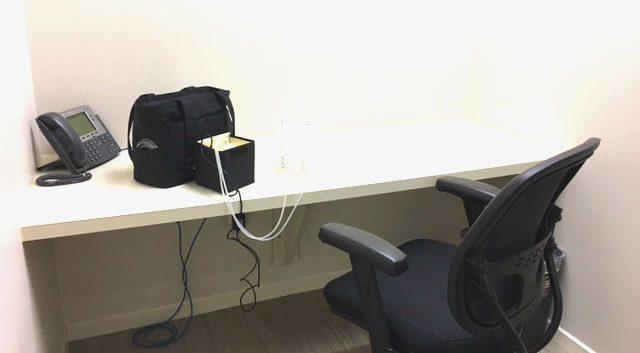 Pumping bag set up at working desk