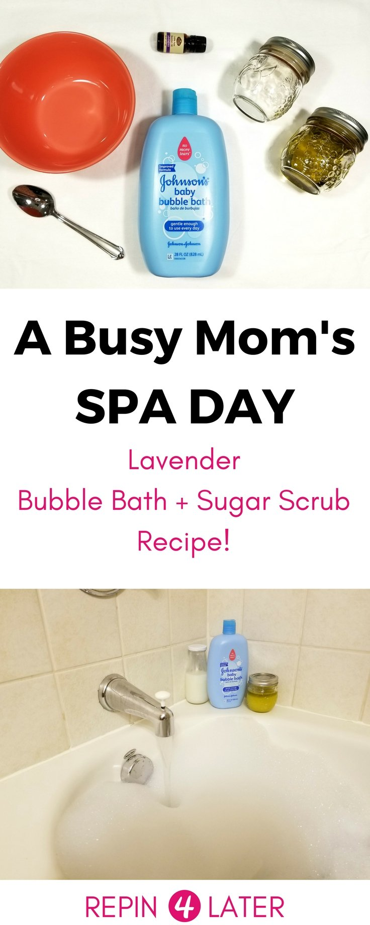 Easy sugar scrub recipe! Plus, a great Johnson's Baby Hack! Easy DIY scrub, mask, and bubble bath!