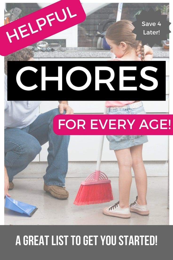 Helpful chores for any age! Find inspiration for your chore chart for kids or use this to see what your kids could do to help around the house!