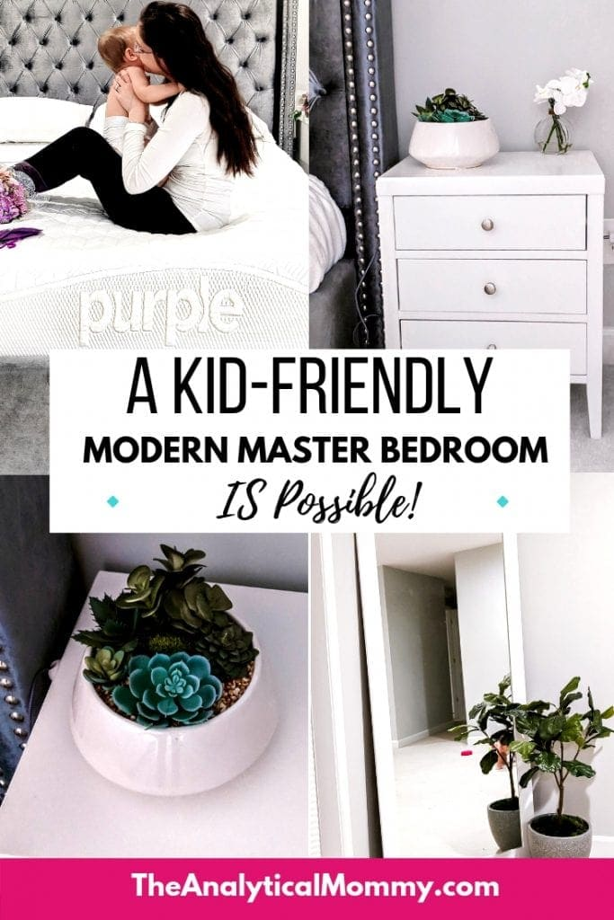 Pinterest pin for blog post about modern kid-friendly master bedroom design and decor tips and ideas