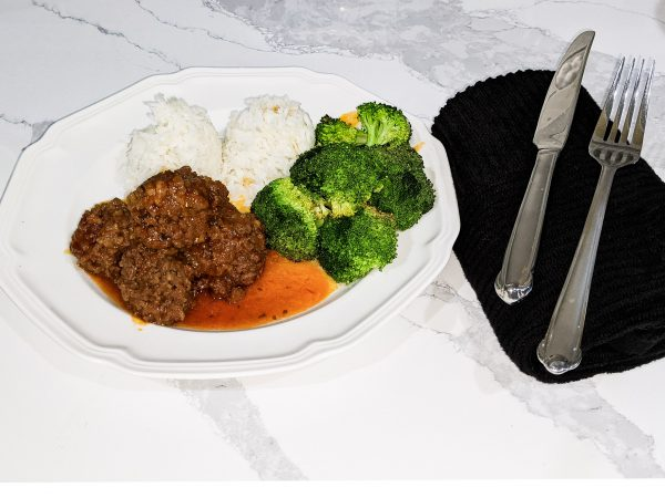 instant pot sweet and sour meatballs on a plate with rice and broccoli