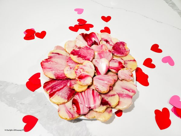 stacked sugar cookies with valentine's day icing