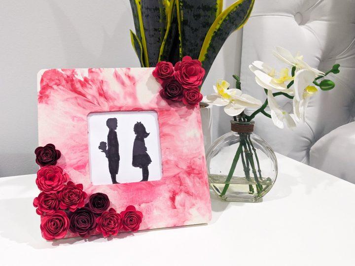 paper flower frame on nightstand