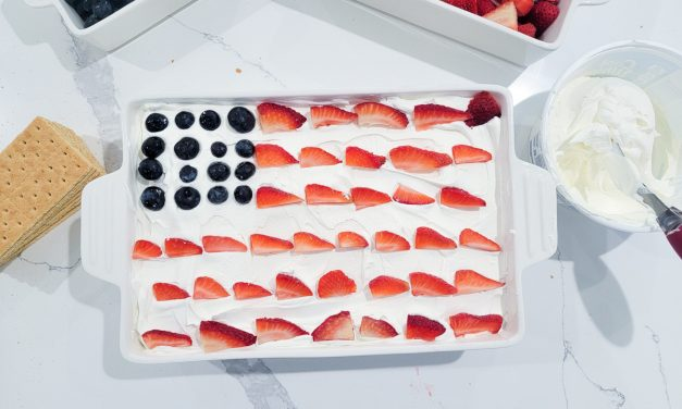 Easiest American Flag cake with blueberries, strawberries and graham crackers