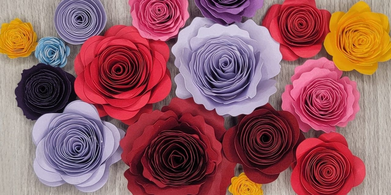 How to make a cricut paper flower + FREE flower templates and a video!
