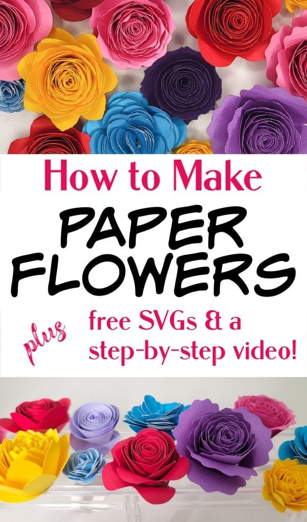 pinterest pin with cricut paper flowers