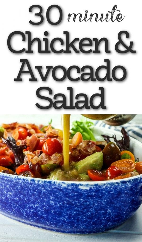 chicken and avocado salad in a bowl