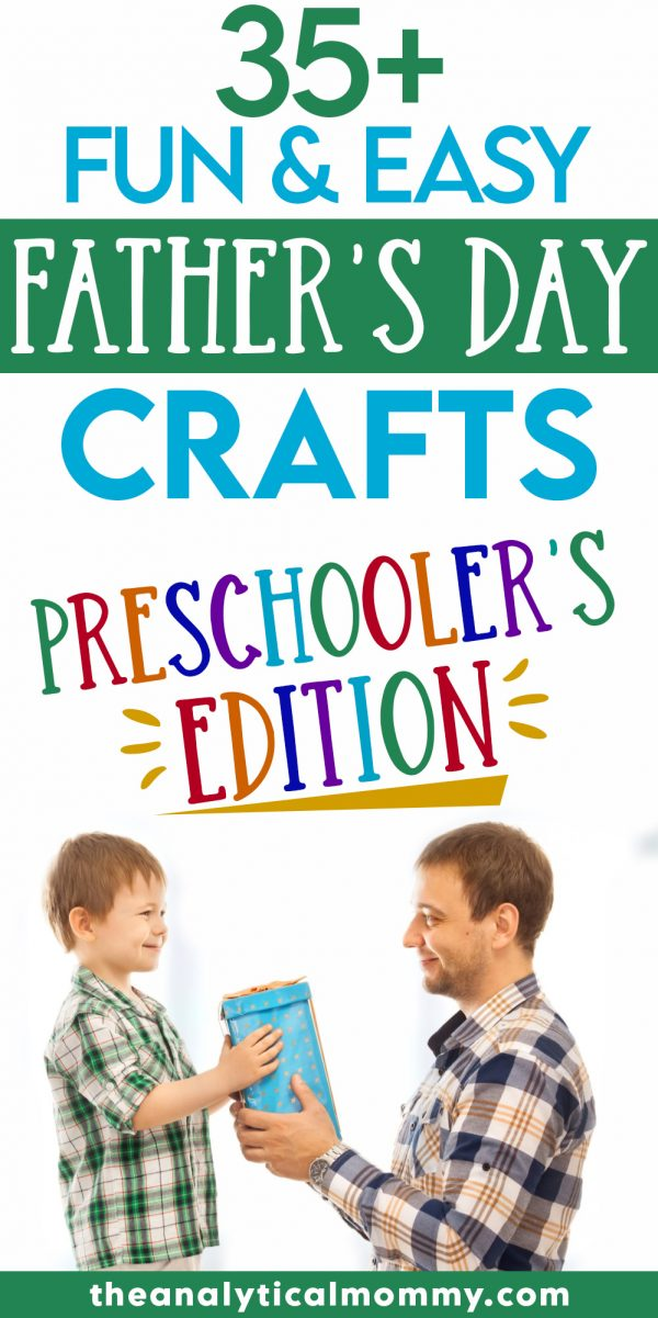 Pinterest pin titled father's day crafts for preschoolers