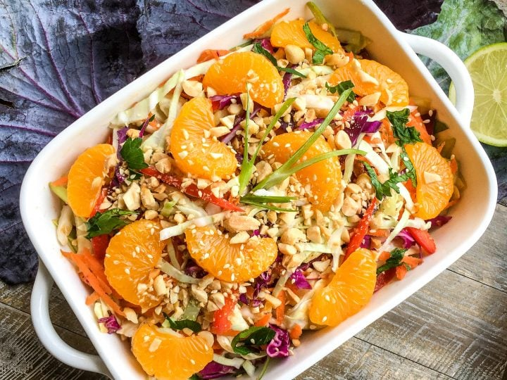 Asian Cabbage Salad with Spicy Peanut and Ginger Dressing