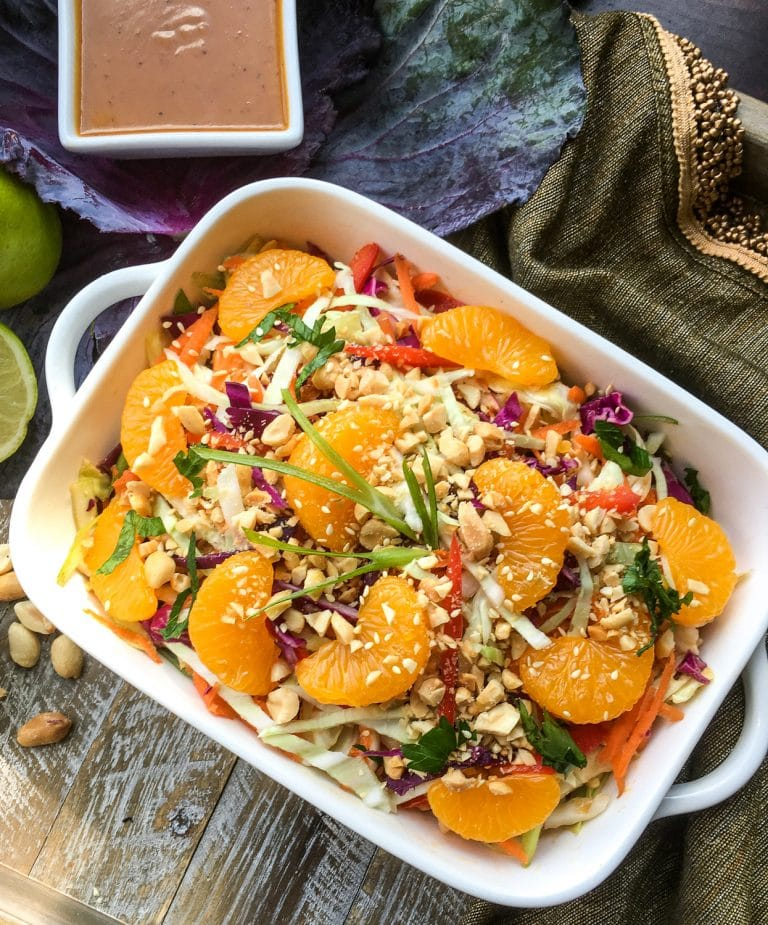 Best Asian Cabbage Salad Recipe with Spicy Peanut and Ginger Dressing