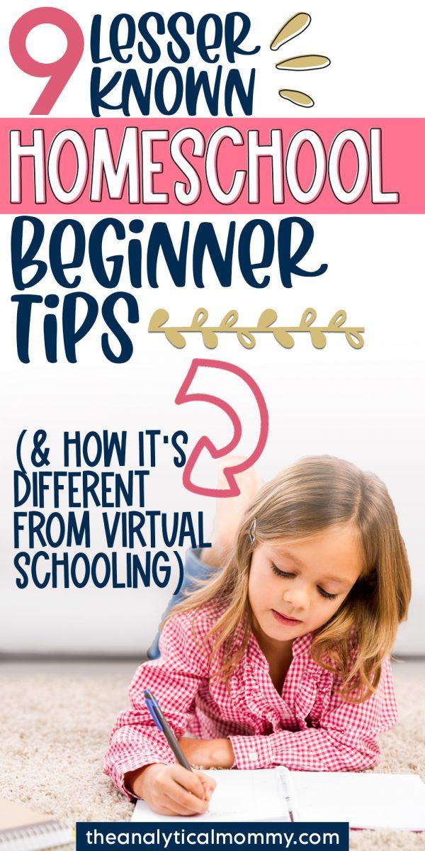 pinterest pin that says homeschool beginner tips