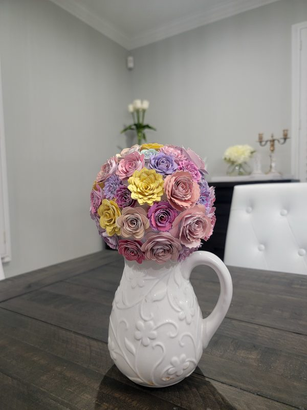 paper flower bouquet on a dining room table
