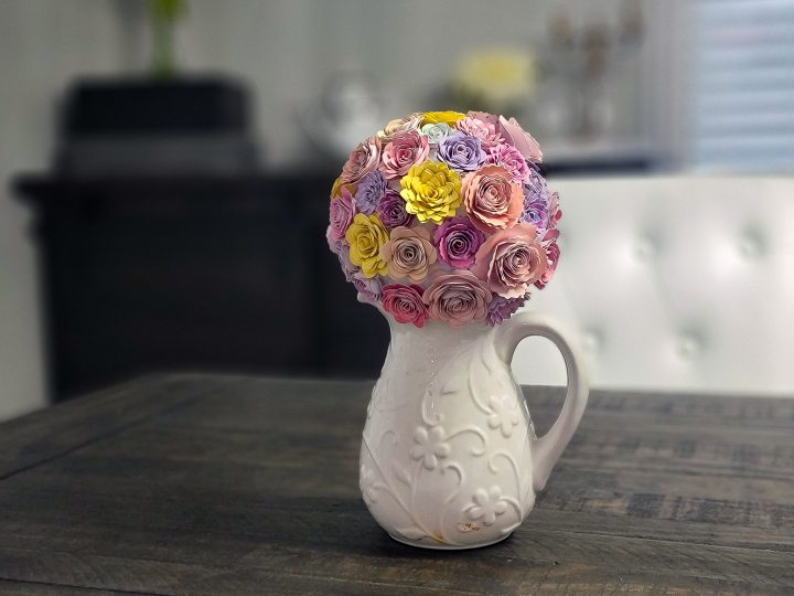 mother's day paper flower bouquet on a dining room table