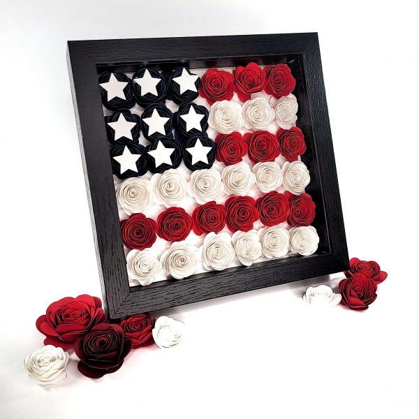 paper flower shadow box in american flag design