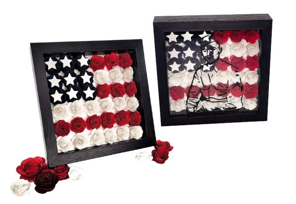 examples of paper flower shadow boxes with american flag designs