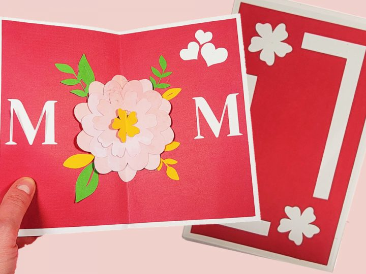 mother's day pop up card with flower made using a cricut machine