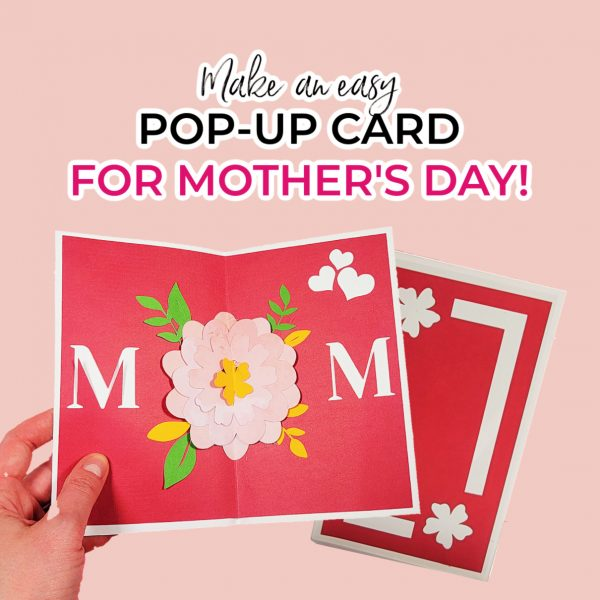 Person holding a pop up mother's day flower card