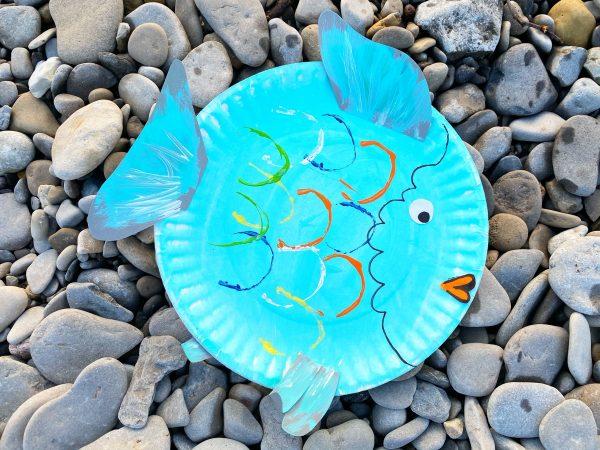 rainbow paper plate fish craft