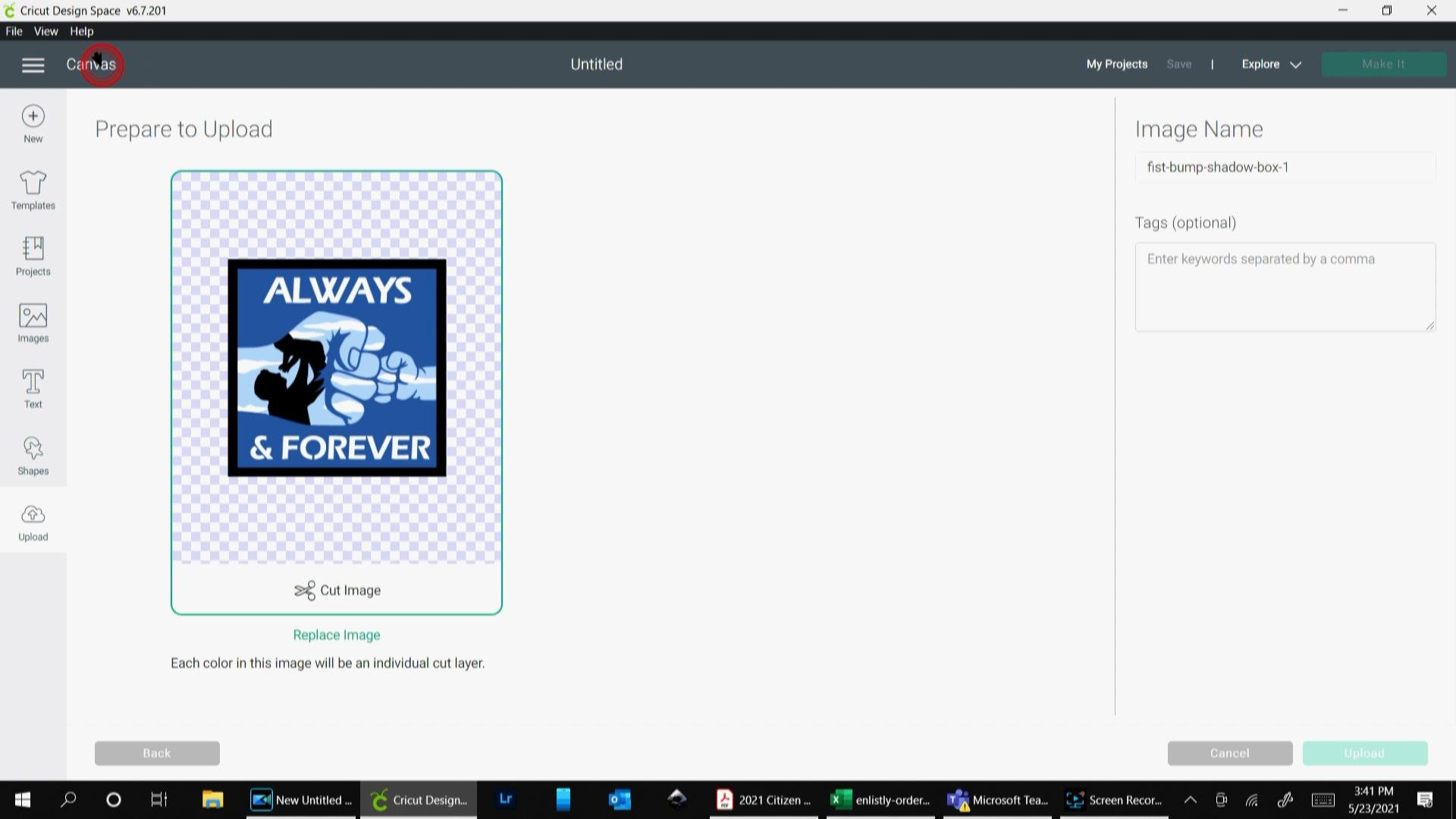how to upload the layered paper shadow box template to design space