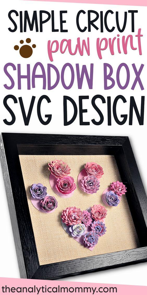 cricut paw print shadow box svg file free