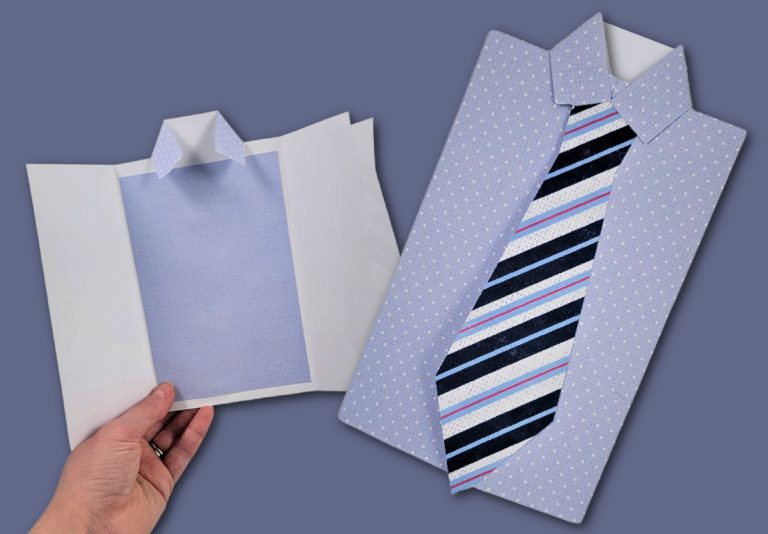 Easy Shirt and Tie Card  – Best Father's Day Card to Make With Free SVG and PDF