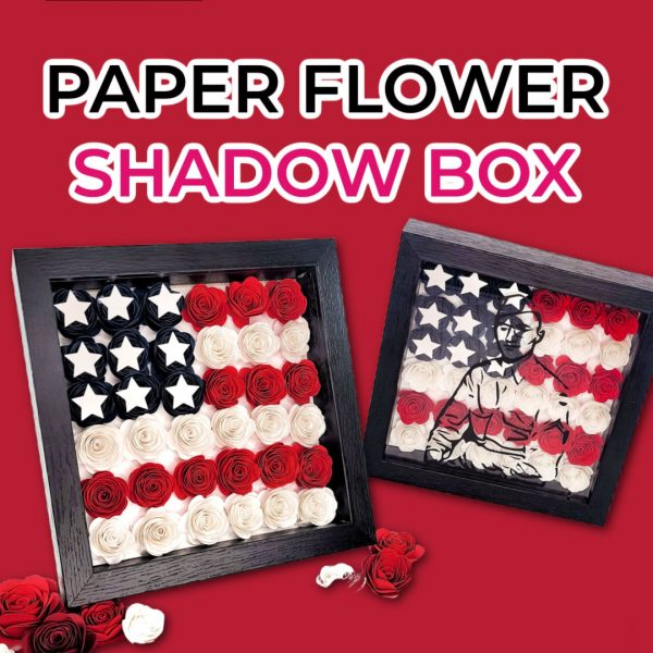 paper flower shadow box template and american flag design for 4th of july