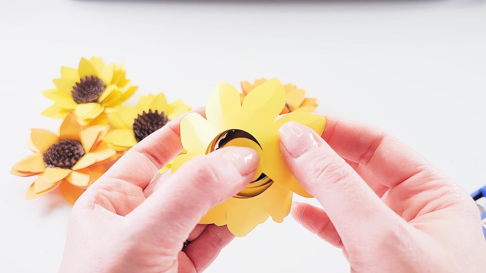 how to finish assembling a sunflower cricut flower