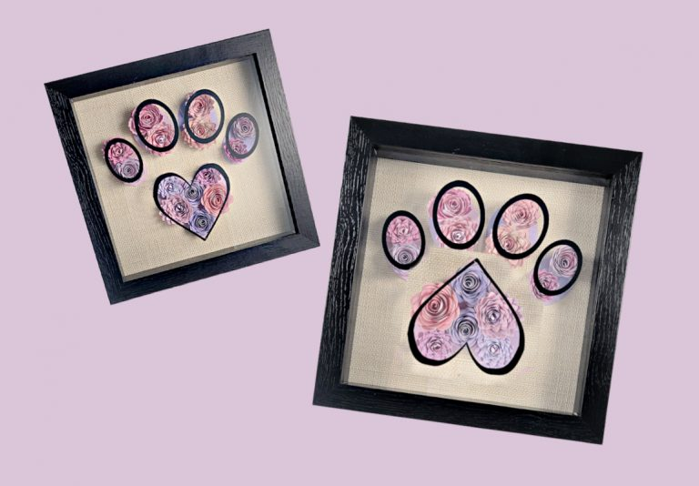Easy Paw Print Paper Flower Shadow Box Design – Unique Cricut Gift For For Pet Lovers with FREE SVG