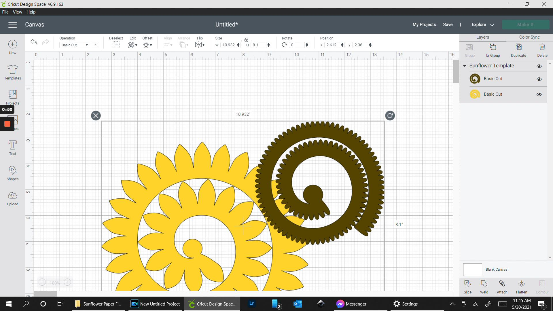 what the sunflower paper flower template looks like in design space