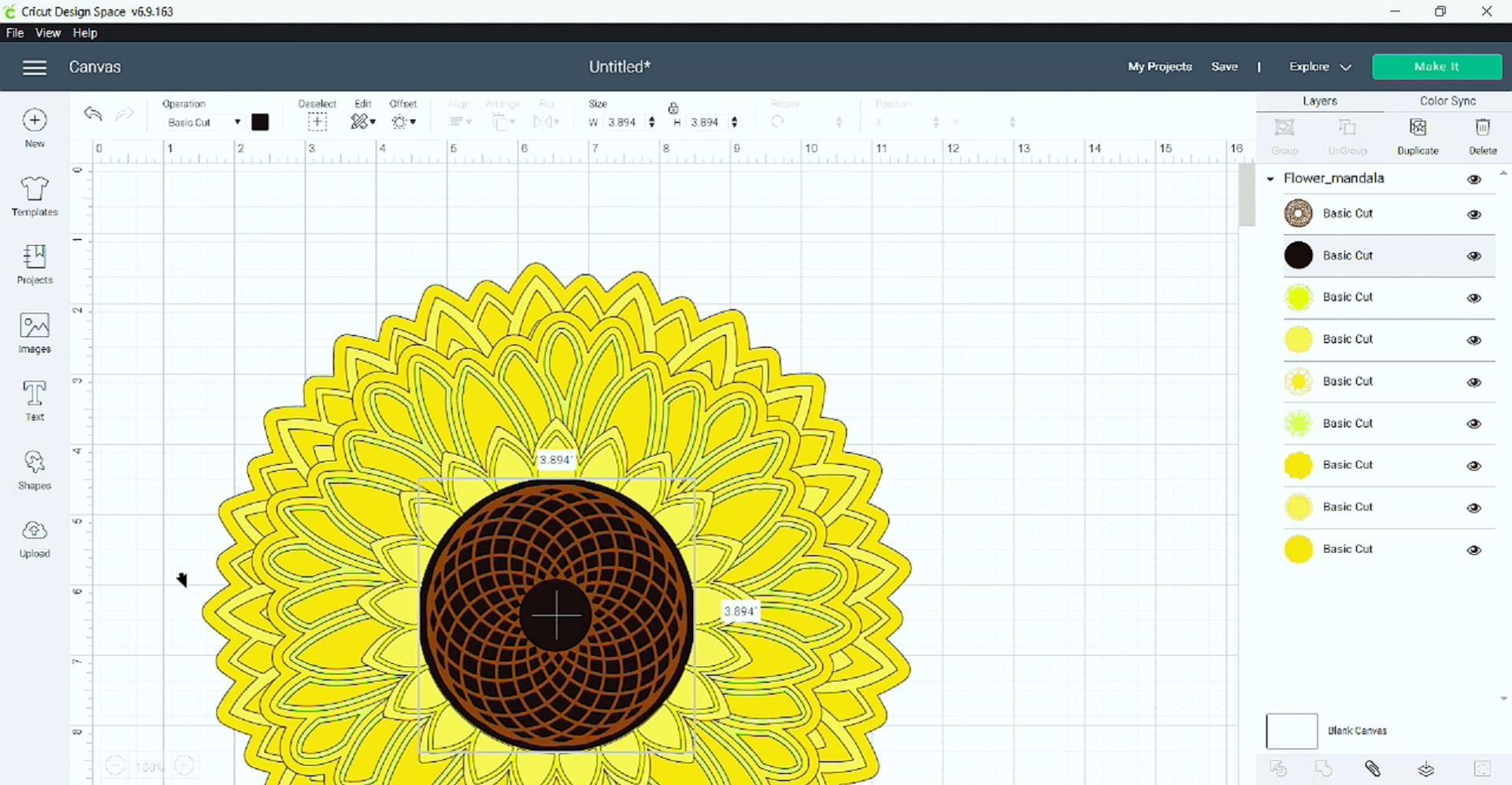 import my sunflower mandala svg (free) file into Design Space