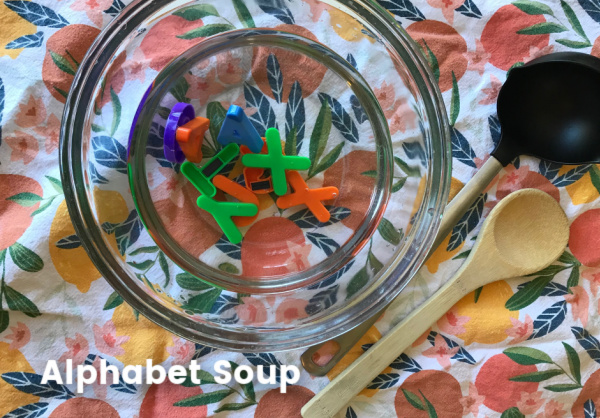 alphabet soup with magnetic letters