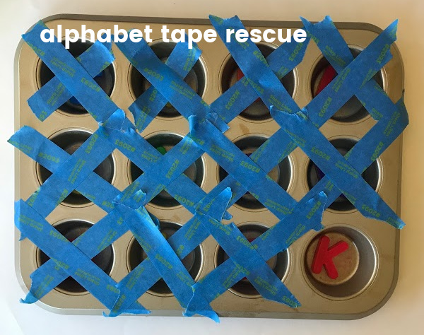 alphabet tape rescue game with magenetic letters