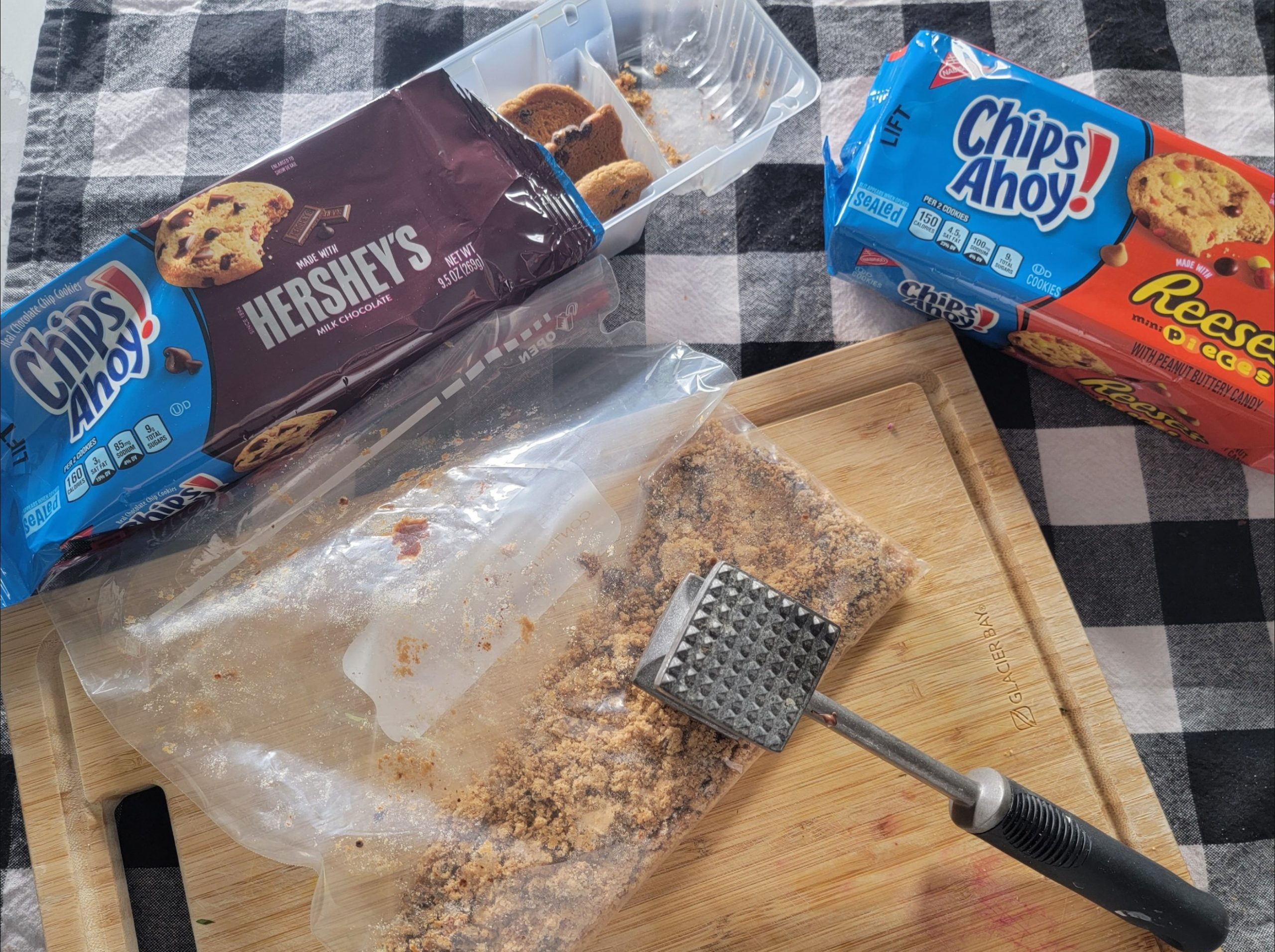 crushing the crust for the cookie pie crust