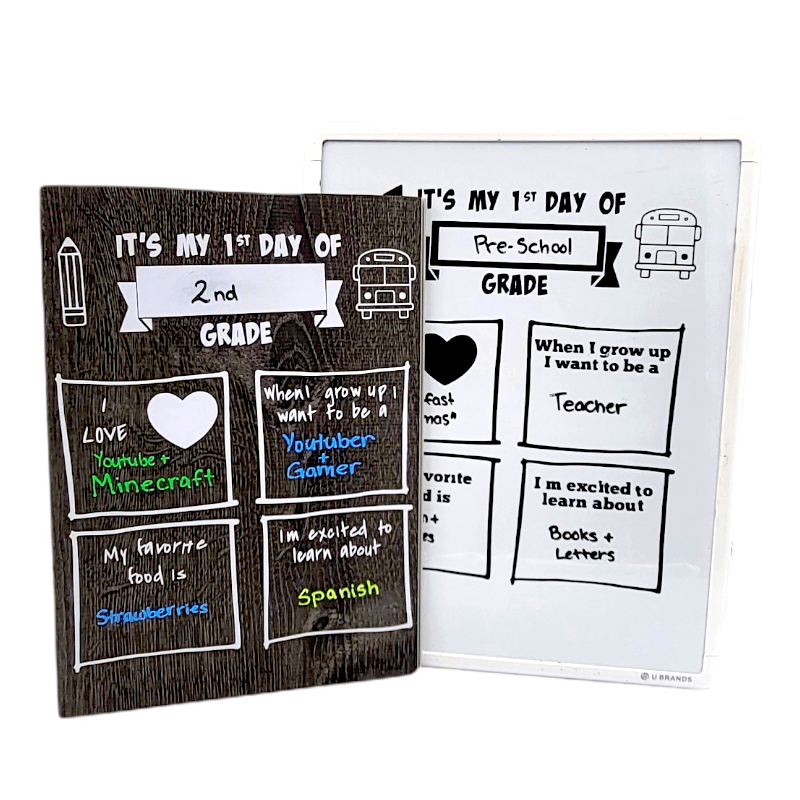 1st day of school template options - one is a first day of school sign on a plank of flooring and the other is a first day of school site on a white baord using vinyl