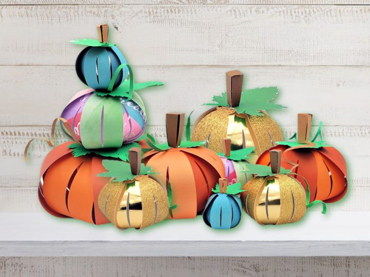 pumpkins made with this 3D paper pumpin craft