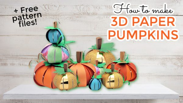 image of many paper pumpkins madde for the fall using a cricut machine