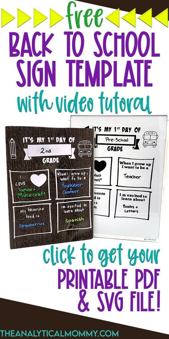 FREE Back to School Sign Template - SVG File + PDF Printable Download + Video Tutorial PINTEREST PIN